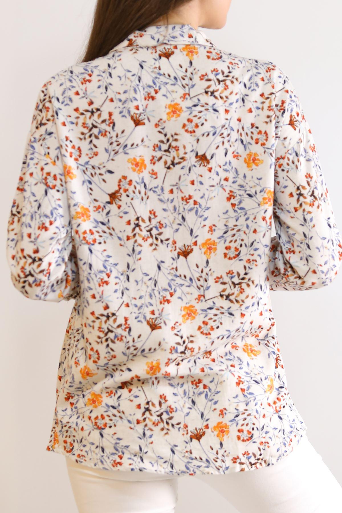 Keten Desenli Gömlek Çiçeklituruncu - 5839.128.