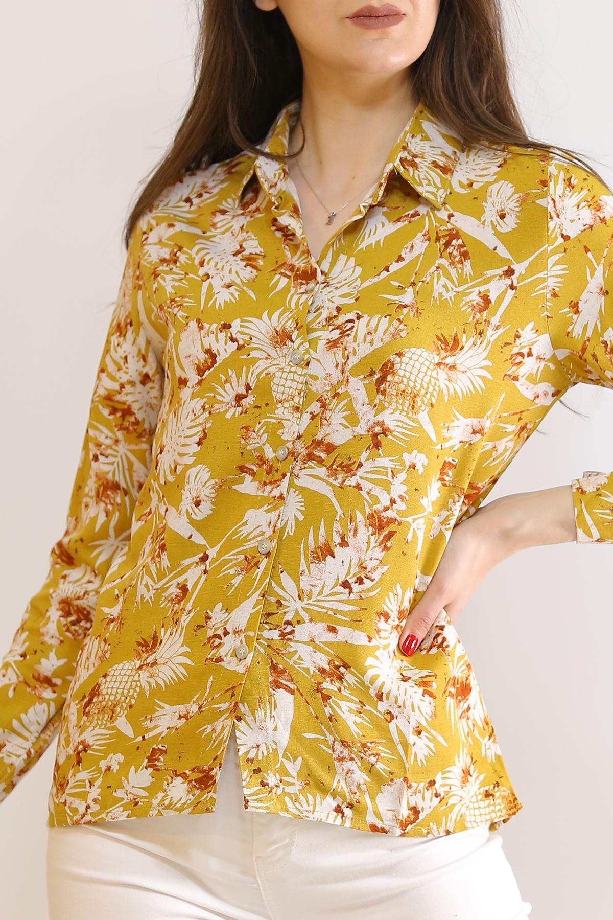 Keten Desenli Gömlek Hardalçiçekli - 5839.128.
