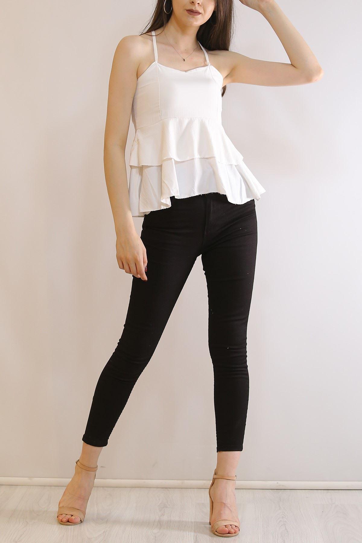 Çapraz Askılı Bluz Beyaz - 6080.1153.