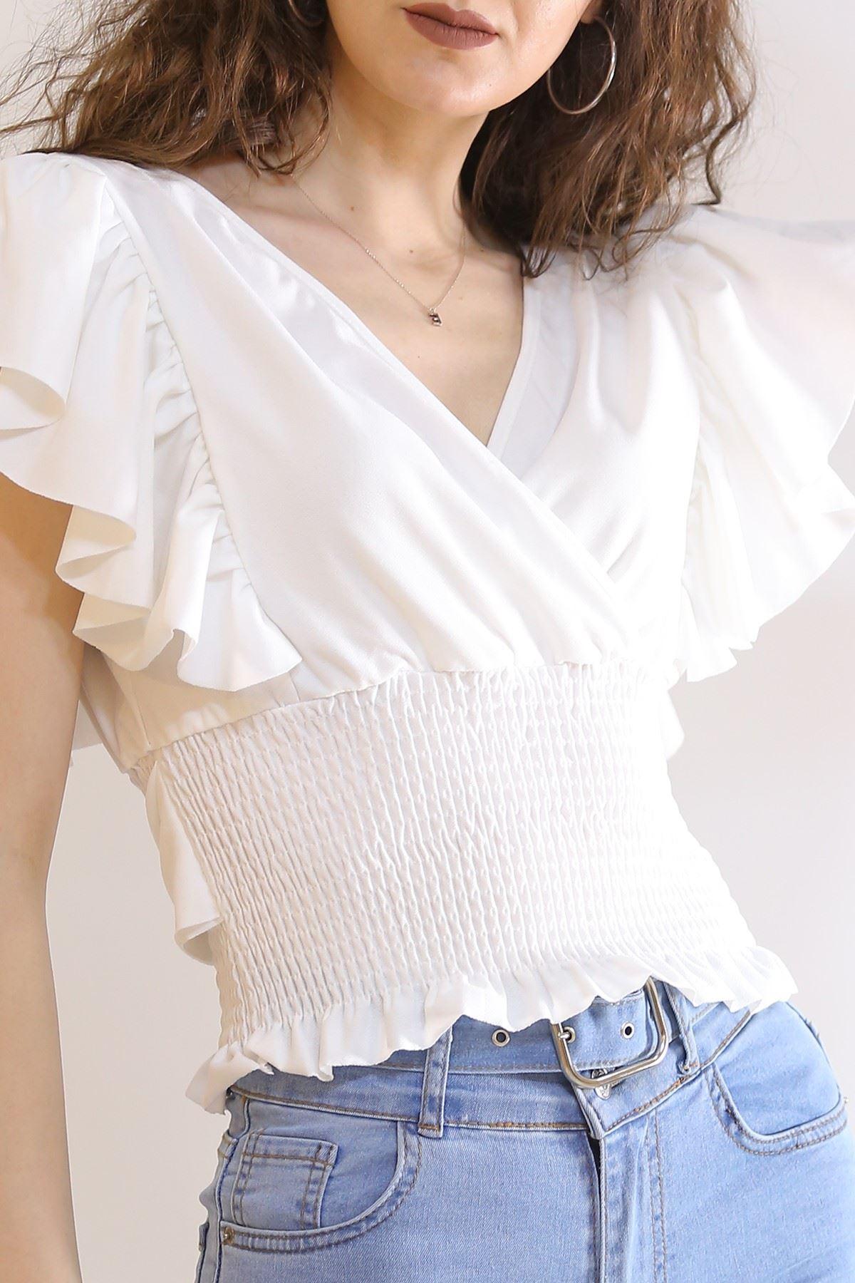 Crep Bağlamalı Bluz Beyaz - 226.1234.