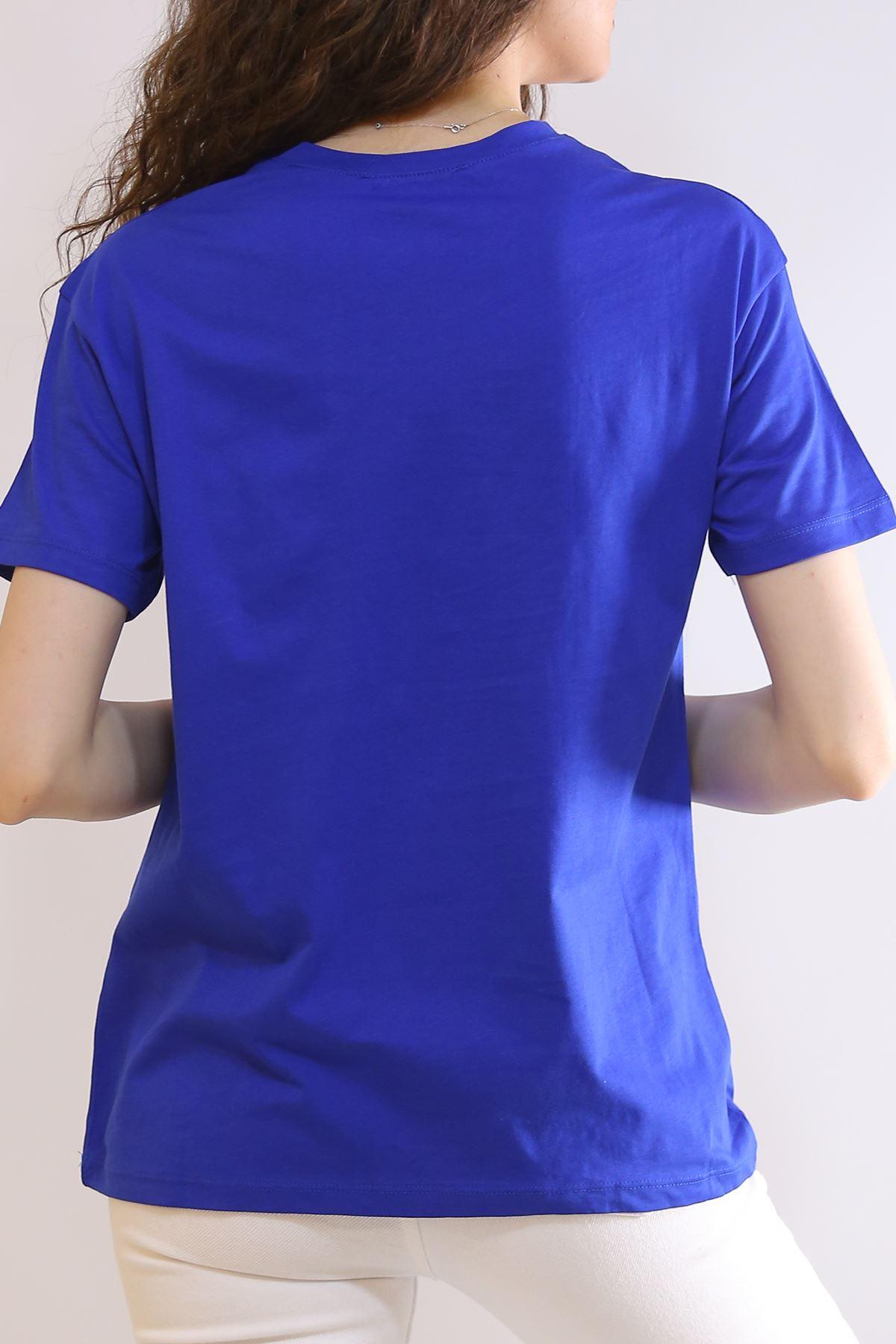 Nakış İşlemeli Tişört Saks - 2975.169.
