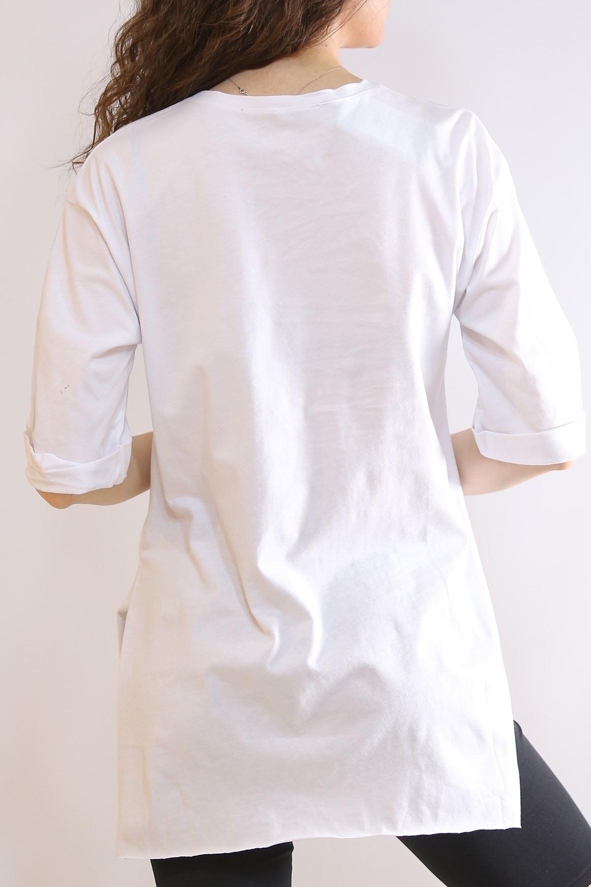 Cep Aksesuarlı Tişört Beyaz - 3190.196.