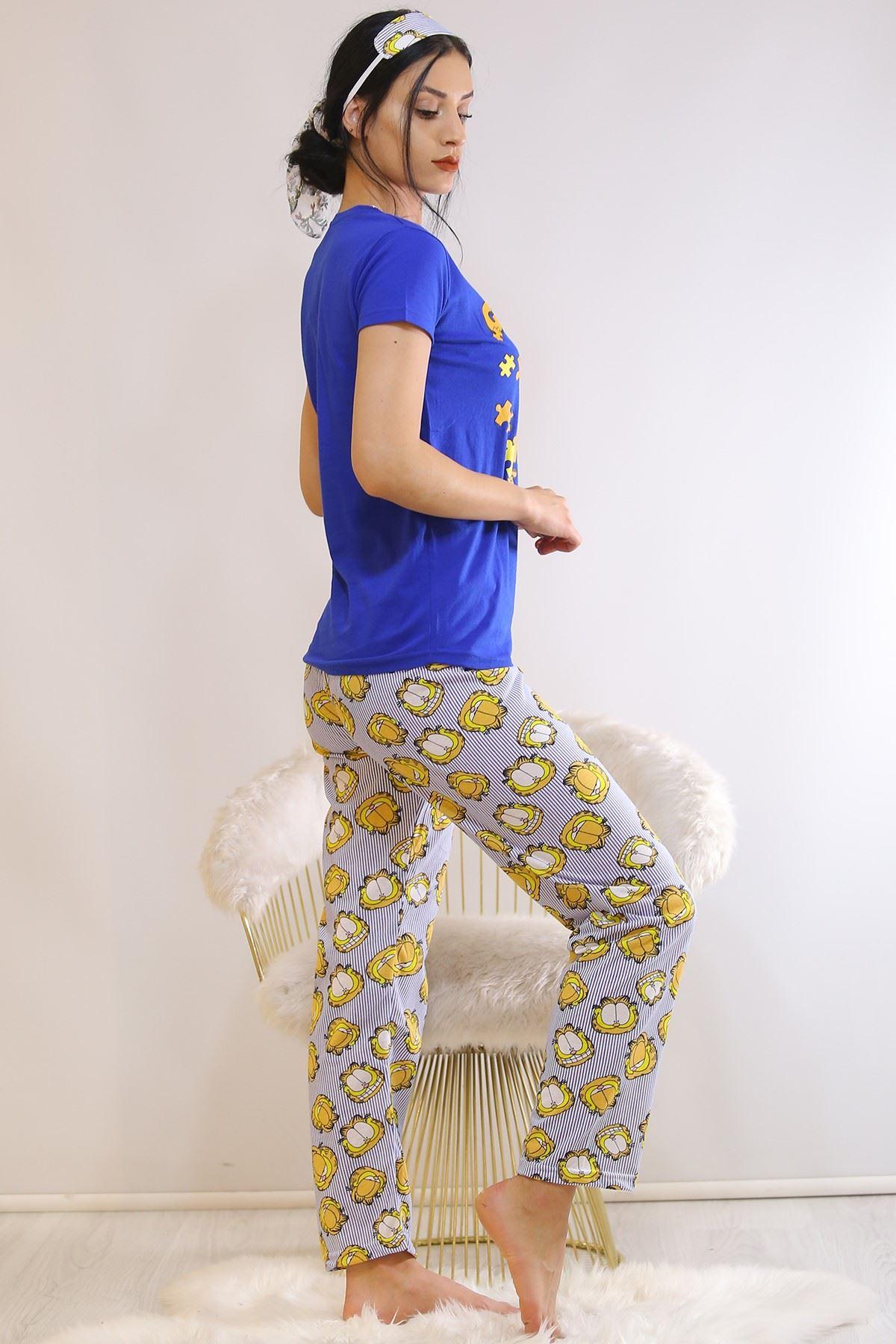 Baskılı Pijama Takımı Mavi - 21054.1059.
