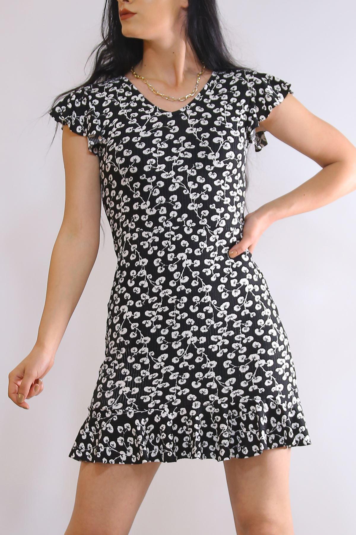 Altı Fırfırlı Elbise Beyazsiyah - 2255.555.