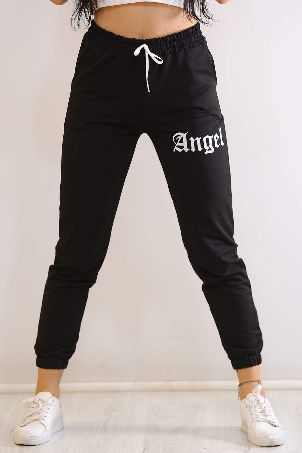 Angel Baskı Eşofman Altı Siyah - 7105.1357.