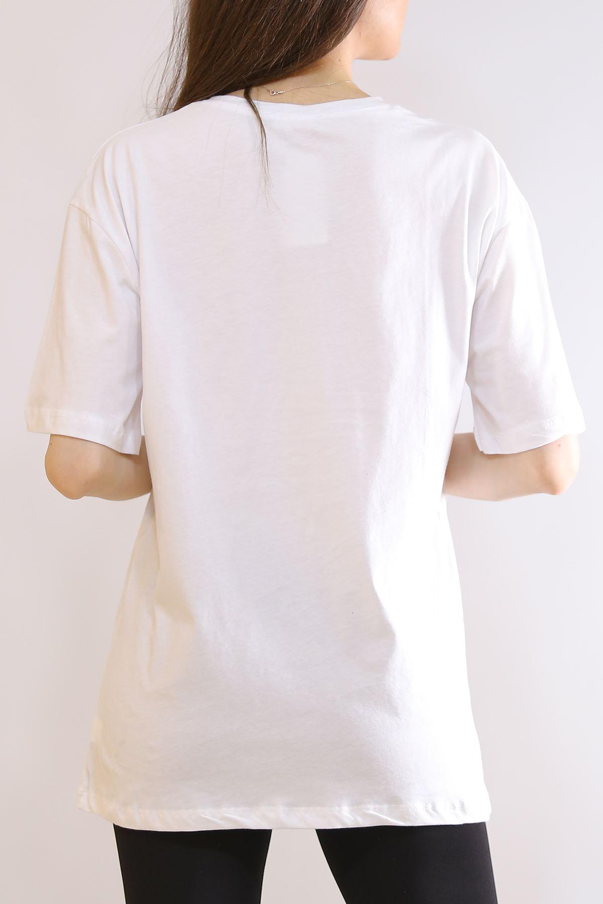 Ejderha Baskılı Tişört Beyaz - 2906.992.