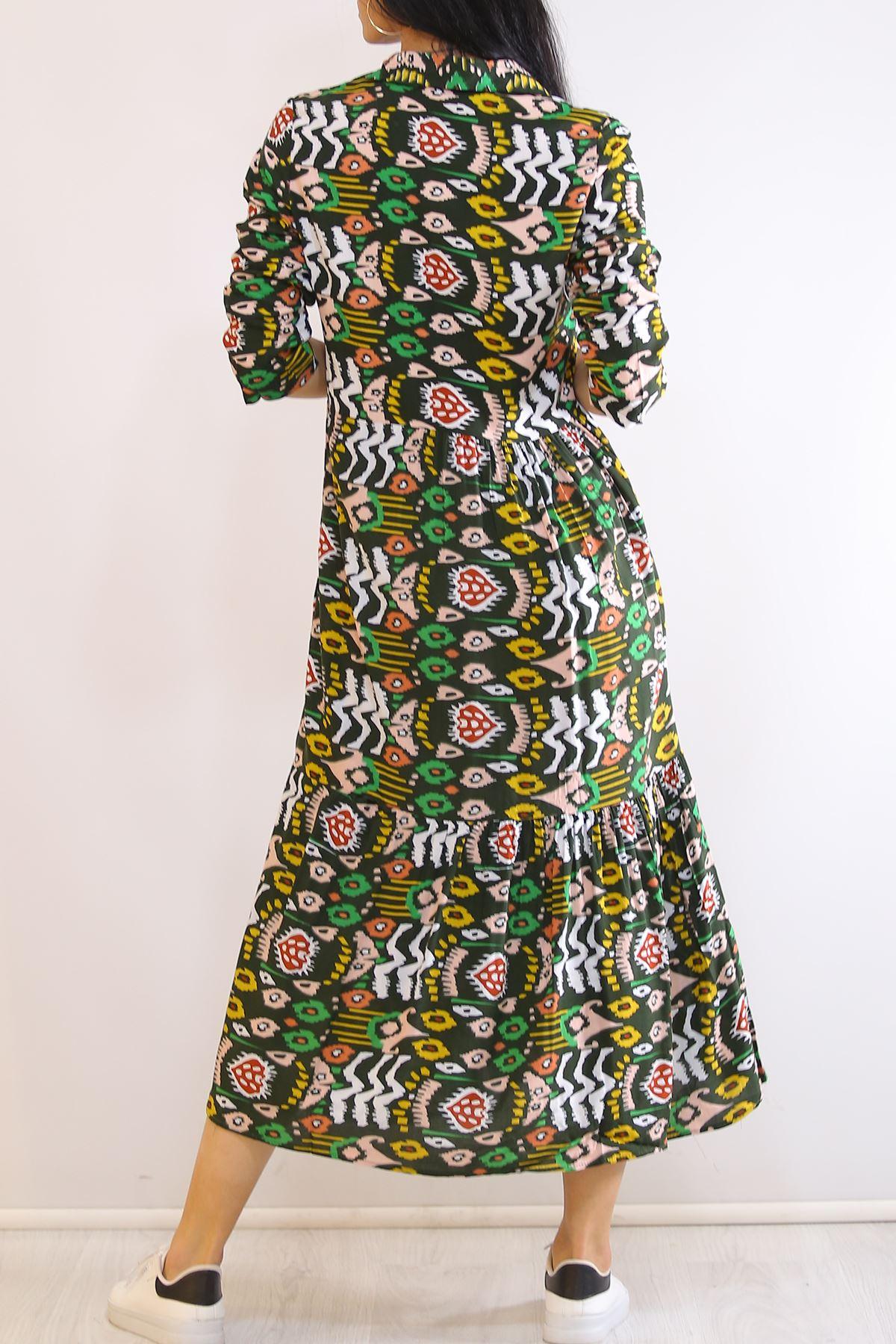 Katlama Kol Elbise Desenliyeşil - 4807.701.
