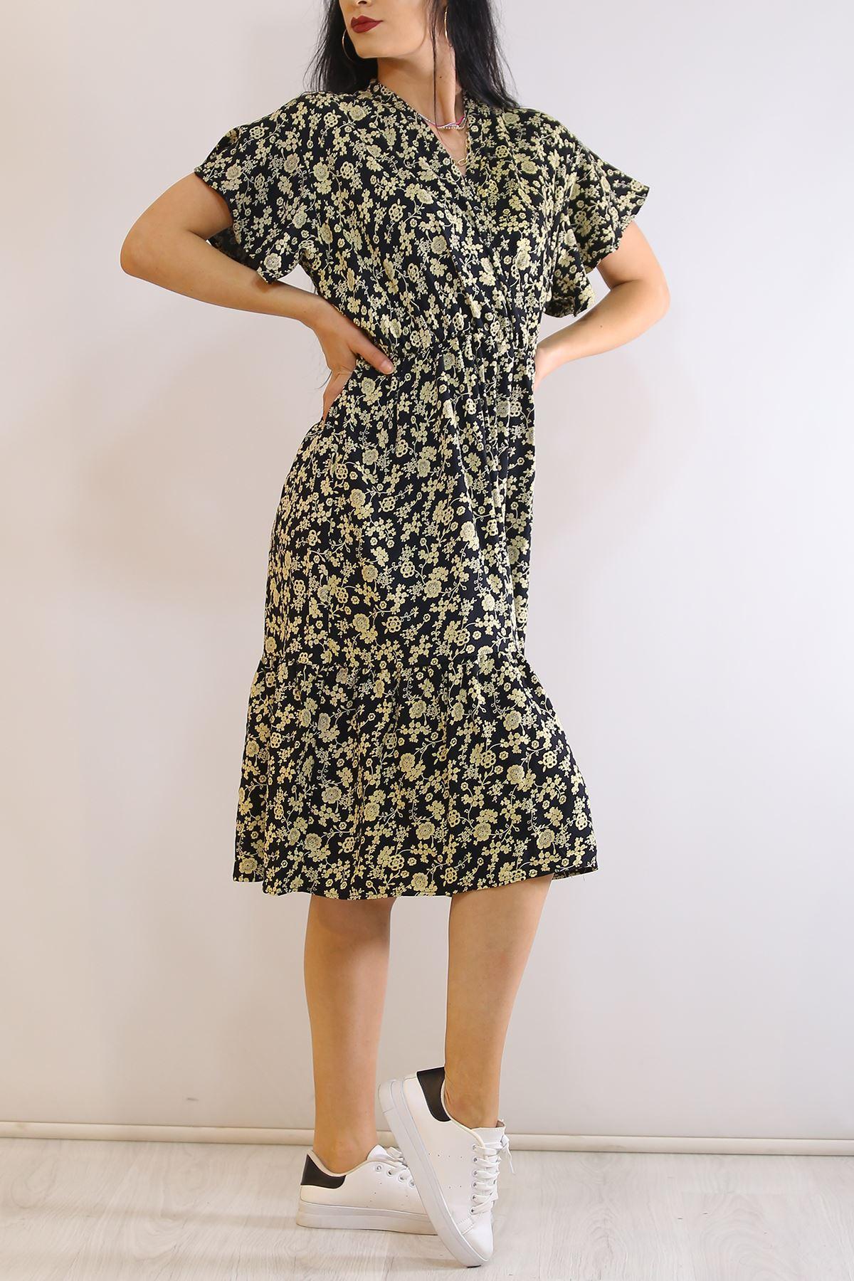 Kruvaze Yaka Elbise Sarısiyah - 5372.701.