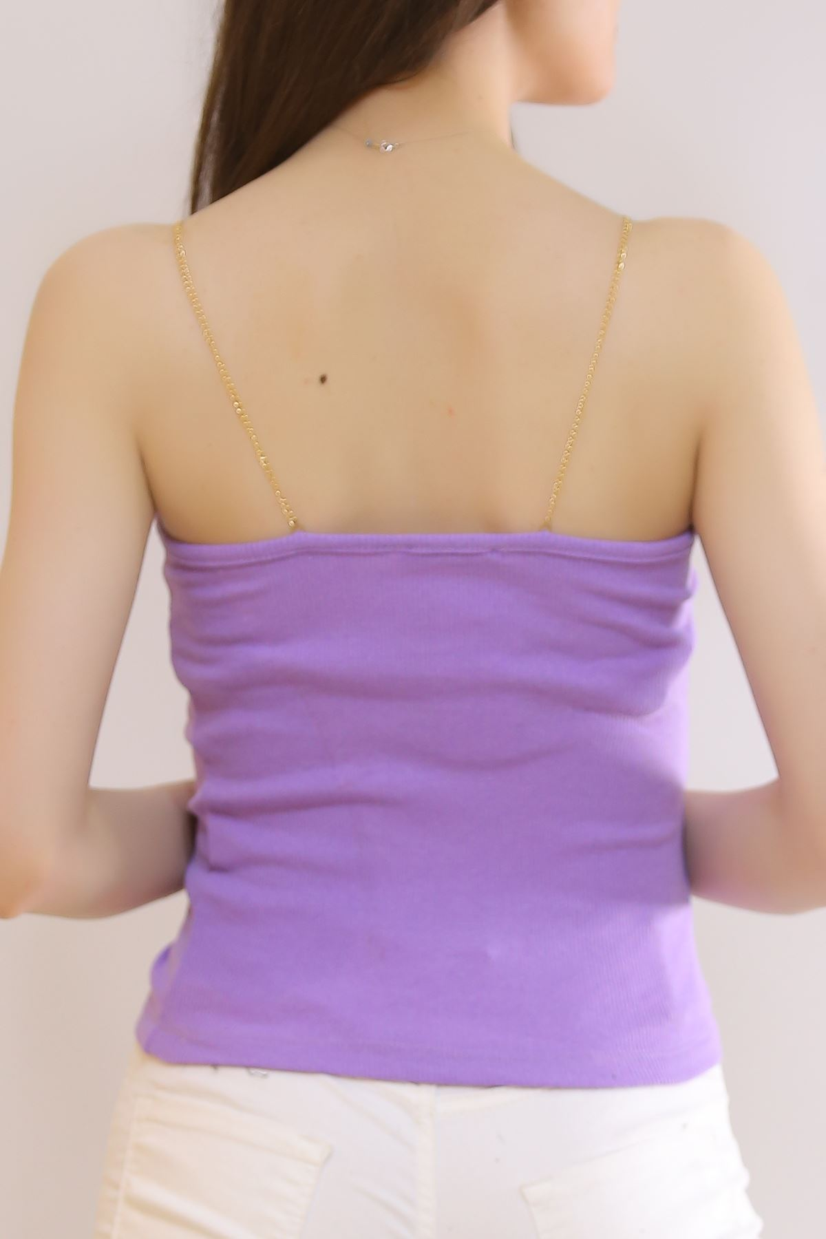 Zincir Askılı Bluz Lila - 0805.1228.