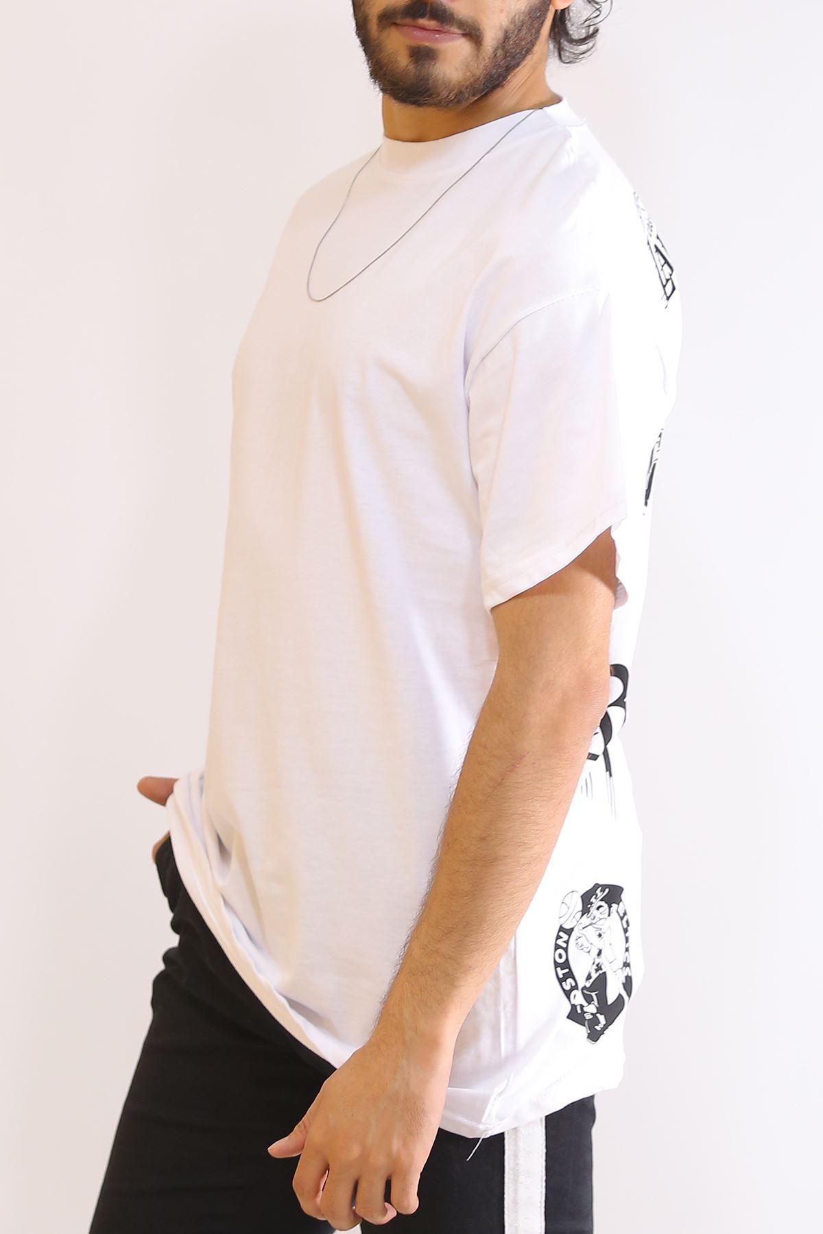 Sırt Baskılı Tişört Beyaz - 6180.1377.