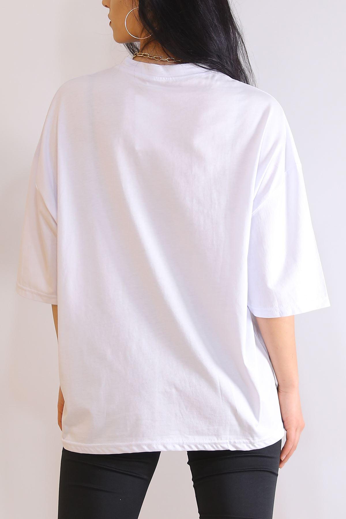 Baskılı  Tişört Beyaz - 6199.1377.