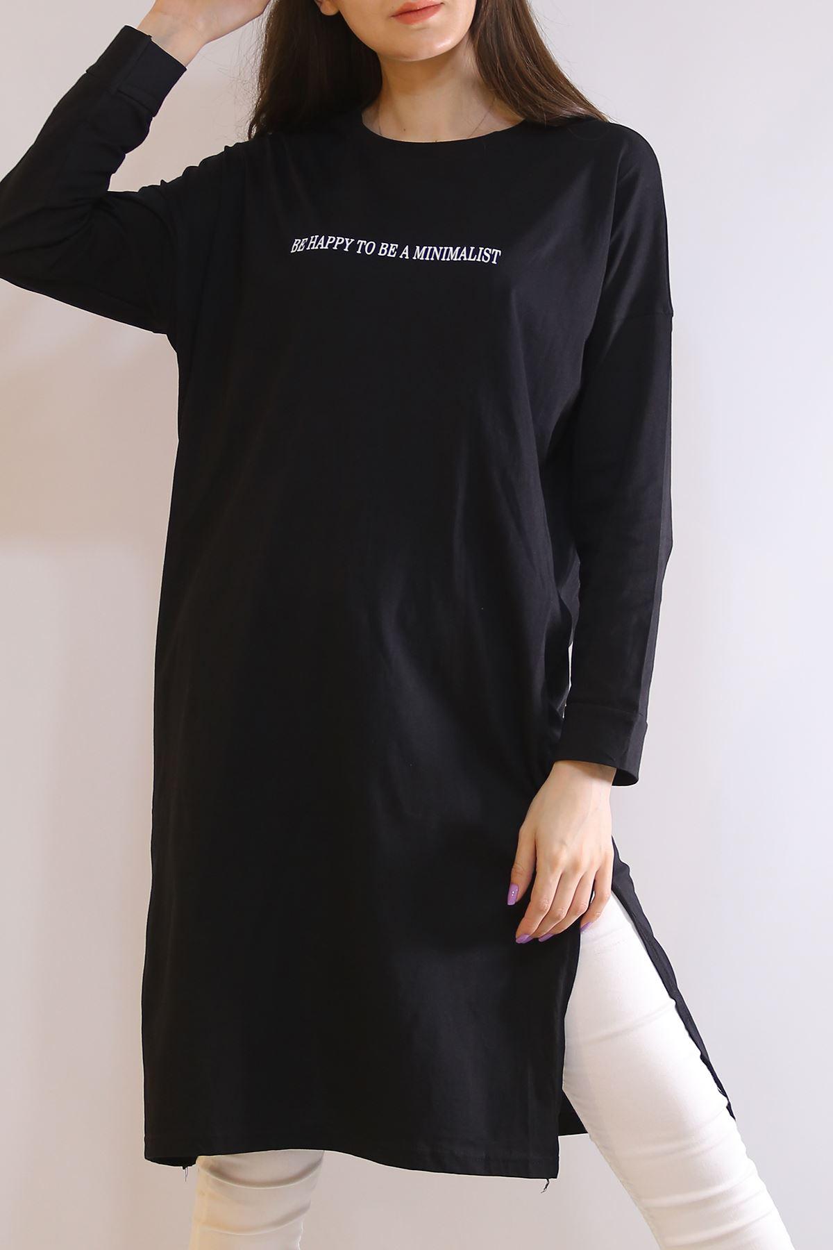 Baskılı Yırtmaçlı Tunik Siyah - 2958.105.