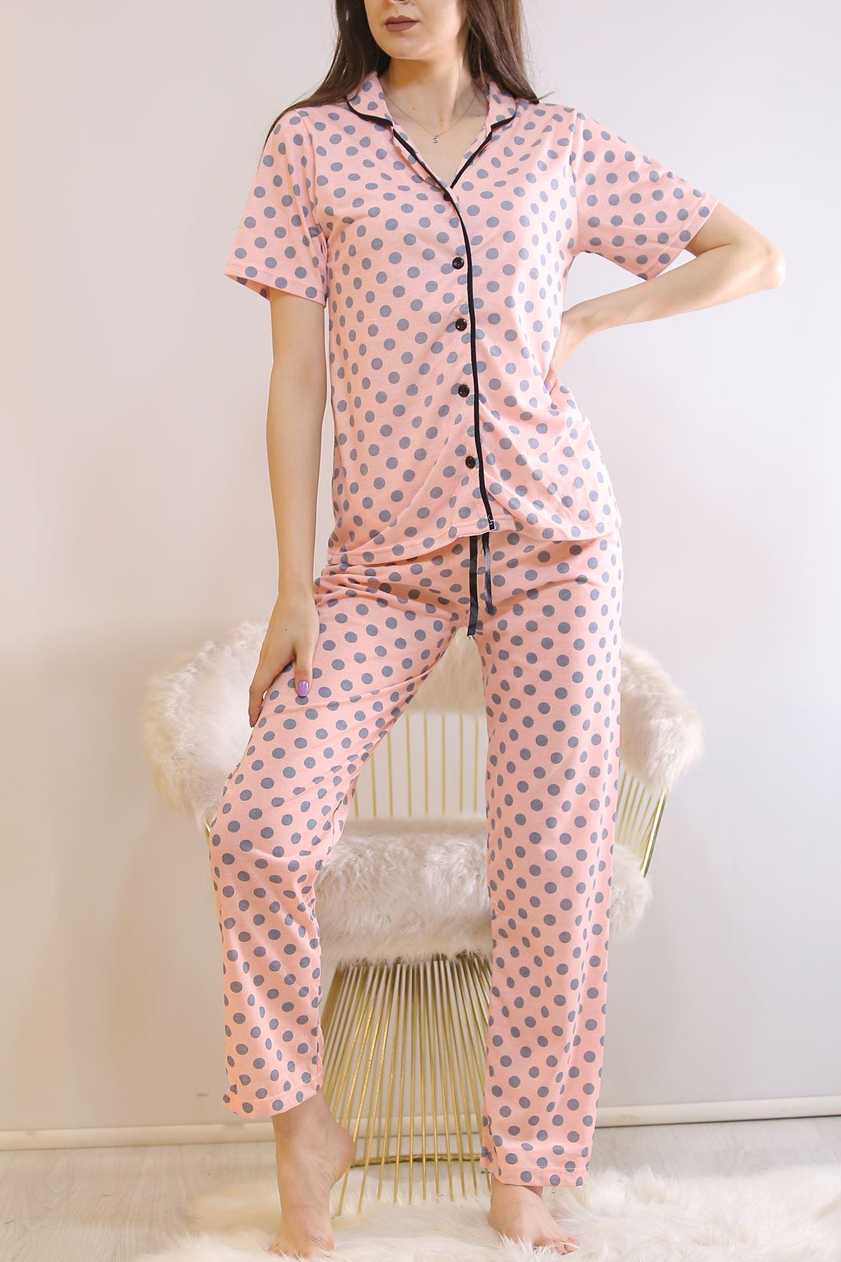Düğmeli Pijama Takımı Pudrapuanlı - 4782.102.