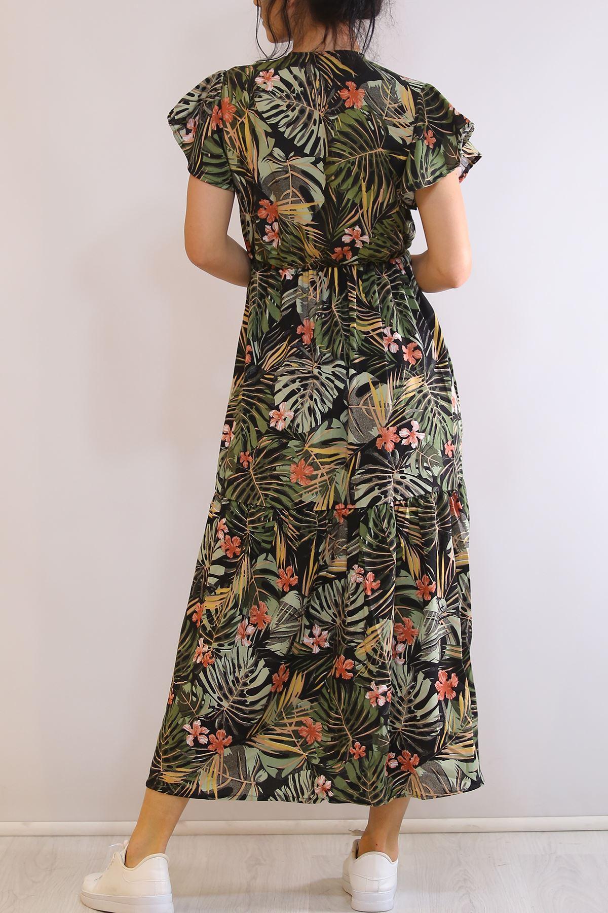 Kruvaze Yaka Elbise Yeşilyapraklı - 5372.701.