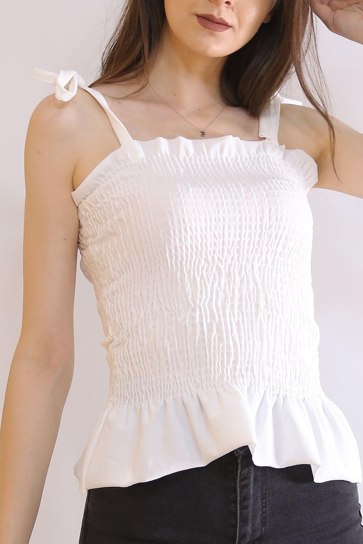 Askılı Büzgülü Bluz Beyaz - 6221.224.