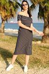 Yakası Lastikli Elbise Siyahbeyaz - 4279.716.