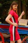 Büyük Beden Yanı Çizgili Elbise Kırmızı - 1617.1256. - b.b