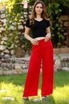Kemerli Trend Bol Pantolon Koyukırmızı - 0752.128.