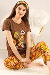 Baskılı Pijama Takımı Kahve - 21911.1059.