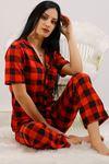 Düğmeli Pijama Takımı Kırmızıkareli - 4782.102.