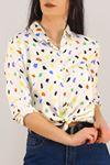 Desenli Gömlek Kremdesenli - 5087.128. Toptan