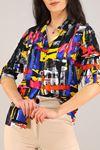 Desenli Gömlek Siyahdesenli - 5087.128. Toptan