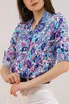 Desenli Gömlek Beyazmavi - 5087.128. Toptan