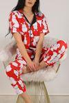 Düğmeli Pijama Takımı Beyazkırmızı - 4782.102. Toptan