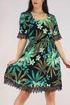 Güpür Garnili Elbise Koyuyeşil - 5580.701.