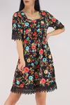 Güpür Garnili Elbise Siyahkırmızı - 5580.701.