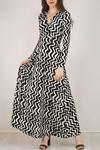 Çiçekli Elbise Siyahbeyaz - 4987.716.