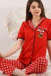 Düğmeli Pijama Takımı Kırmızıdesenli - 4782.102.