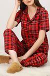 Düğmeli Pijama Takımı Siyahkırmızı - 4782.102. Toptan