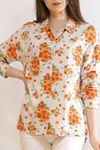 Keten Desenli Gömlek Turuncuçiçekli - 5839.128.